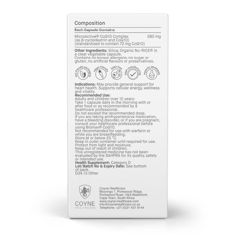 Biomax CoQ10, prehransko dopolnilo. Vsebuje zelo učinkovito, patentirano obliko koencima Q10 – MicroActive®. Sitis, Biomax.