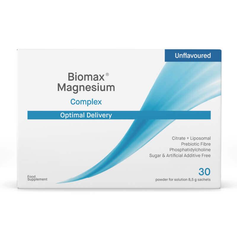Biomax Magnezij, prehransko dopolnilo z magnezijem, v prahu. Citrat + liposomski + prebiotične vlaknine. Brez okusa.