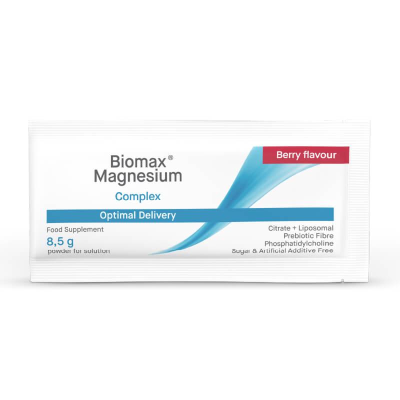 Biomax Magnezij, prehransko dopolnilo z magnezijem, v prahu. Citrat + liposomski + prebiotične vlaknine. Okus jagodičevja.