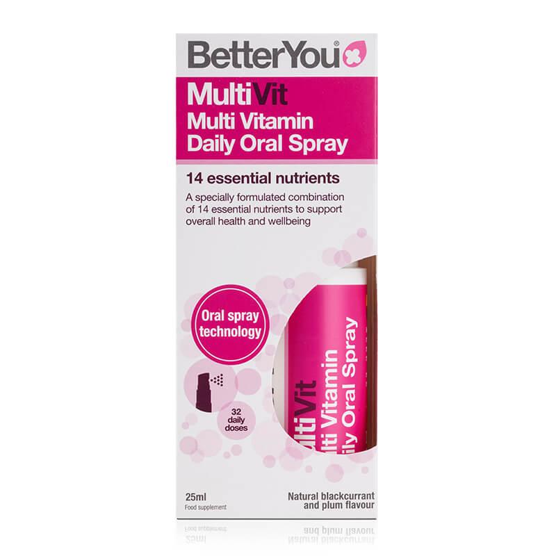 MultiVit, prehransko dopolnilo v spreju. Vitamini D3 in B12. Sitis, BetterYou.